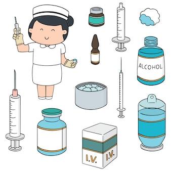 Conjunto de vectores de la enfermera y la medicina inyectable