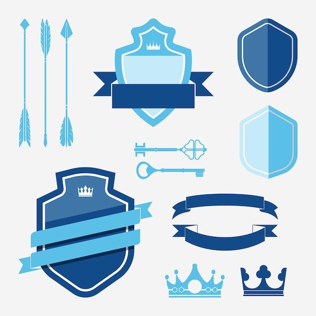Conjunto de vectores de etiqueta azul ornamento
