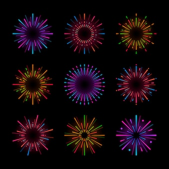 Conjunto de vectores de explosión de fuegos artificiales