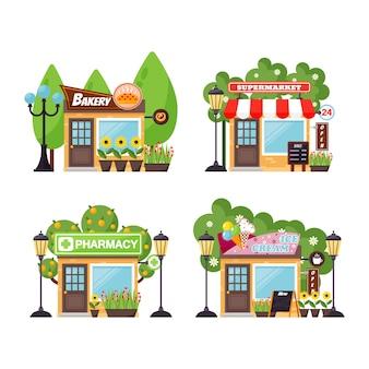 Conjunto de vectores de fachada de tienda.