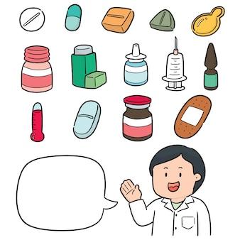 Conjunto de vectores de farmacéutico y medicina