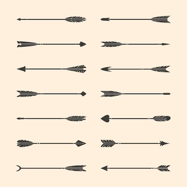 Conjunto de vectores de flecha con estilo gris