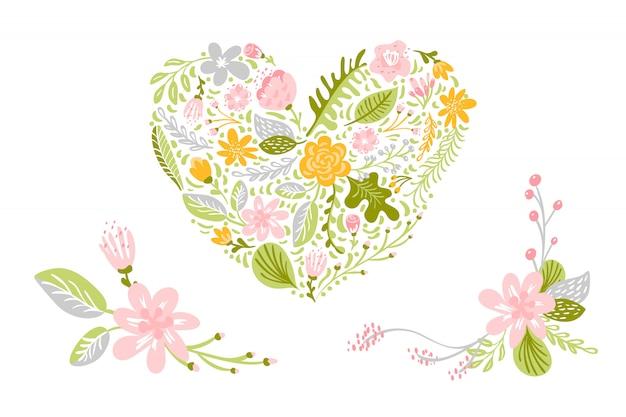 Conjunto de vectores de flores en colores pastel. aislado floral, ilustración plana del corazón