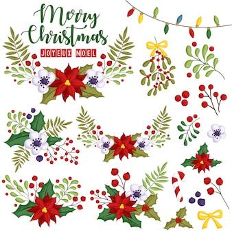 Un conjunto de vectores de flores ensambladas en hermosa corona de navidad