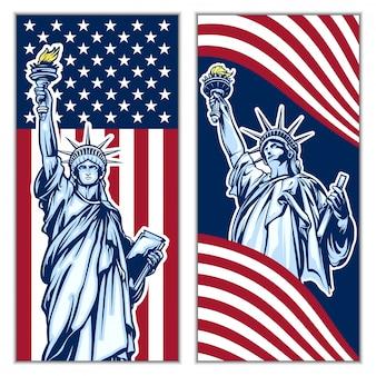 Conjunto de vectores de fondo de la estatua de la libertad de día de la independencia