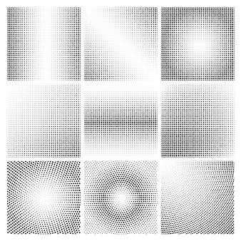 Conjunto de vectores de fondos de puntos de semitono en blanco y negro