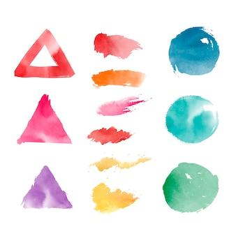 Conjunto de vectores de formas geométricas acuarela