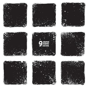 Conjunto de vectores de formas con textura grunge