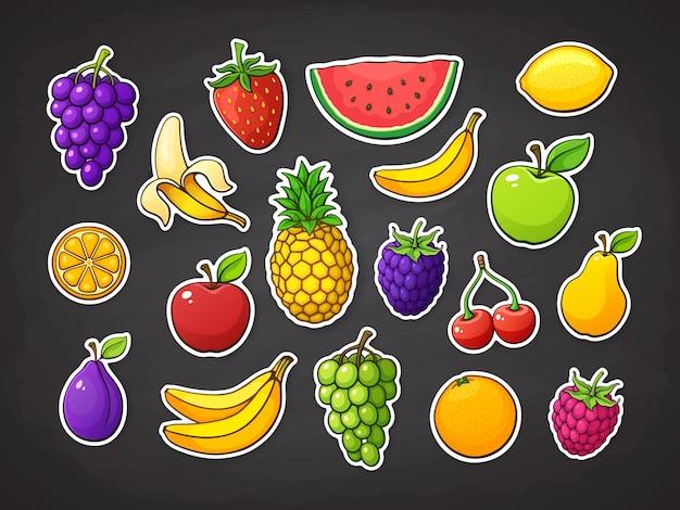 Conjunto de vectores de frutas de verano fresa, mora, cereza, sandía, manzana, plátano, naranja