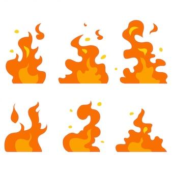 Conjunto de vectores de fuego de dibujos animados