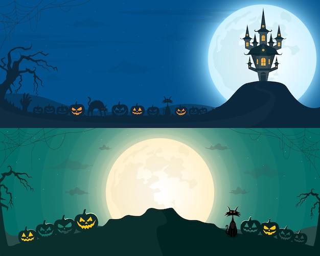 Conjunto de vectores de halloween de dos fondos ilustración vectorial