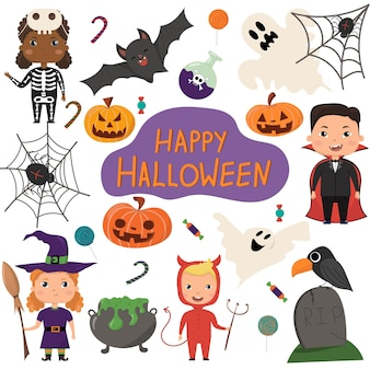 Conjunto de vectores de halloween niños en disfraces de halloween