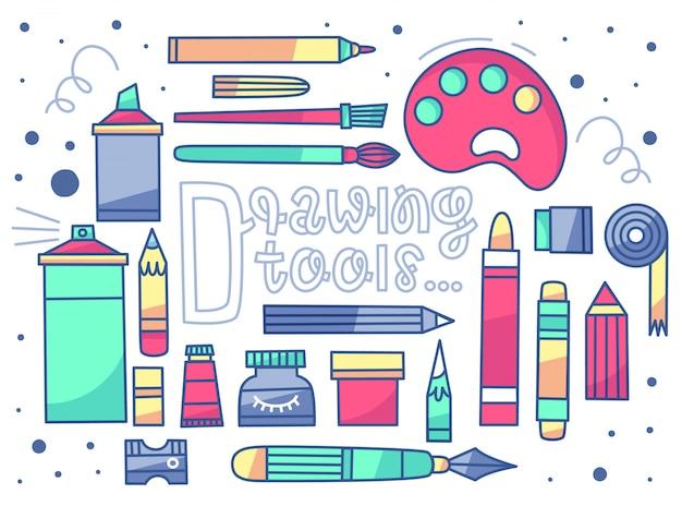Un conjunto de vectores de herramientas de dibujo. 20 artículos + letras. estilo plano
