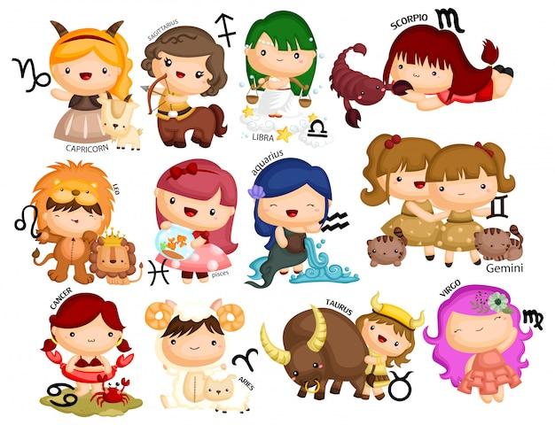 Conjunto de vectores horóscopo del zodiaco