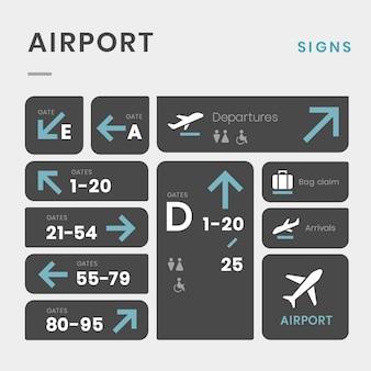 Conjunto de vectores icono de signos de aeropuerto