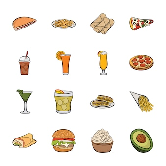 Conjunto de vectores de iconos de alimentos