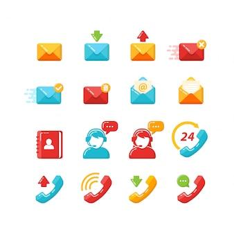 Conjunto de vectores de iconos de atención al cliente