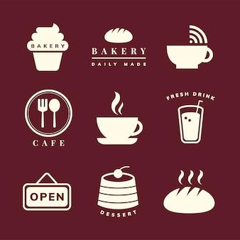 Conjunto de vectores de iconos de cafetería