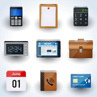 Conjunto de vectores de iconos de negocios y oficina