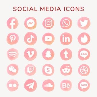 Conjunto de vectores de iconos de redes sociales acuarela con facebook, instagram, twitter, tiktok, youtube, etc.
