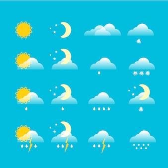 Conjunto de vectores de iconos de tiempo pronóstico