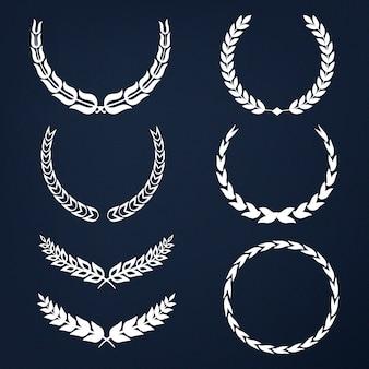 Conjunto de vectores de ilustración de corona de laurel