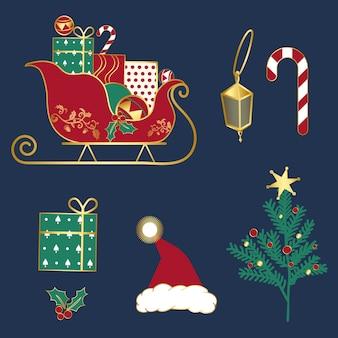 Conjunto de vectores de ilustraciones de navidad
