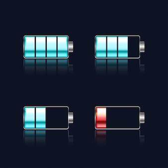 Conjunto de vectores indicadores de nivel de batería