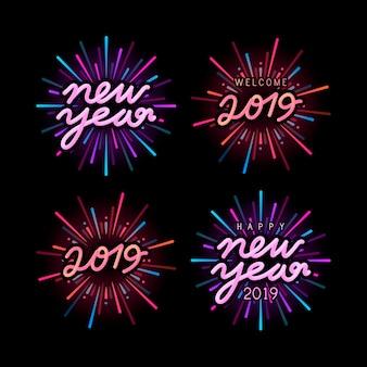 Conjunto de vectores de insignia de celebración de año nuevo 2019