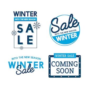 Conjunto de vectores de la insignia de venta de invierno