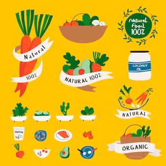 Conjunto de vectores de insignias de alimentos naturales y orgánicos.