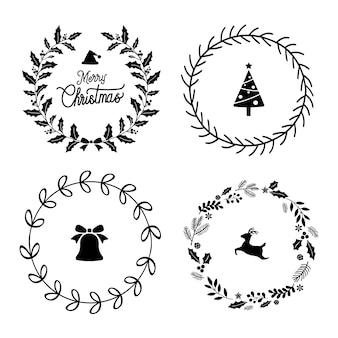 Conjunto de vectores de insignias de navidad