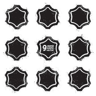 Conjunto de vectores de insignias con textura abstracta de grunge