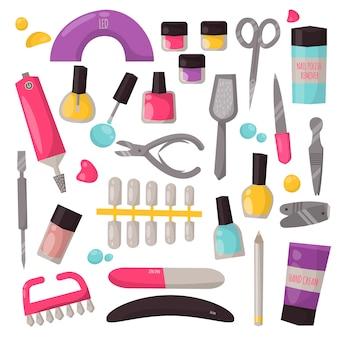 Conjunto de vectores de instrumentos de manicura.