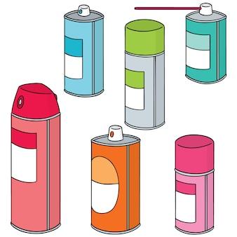 Conjunto de vectores de lata de aerosol