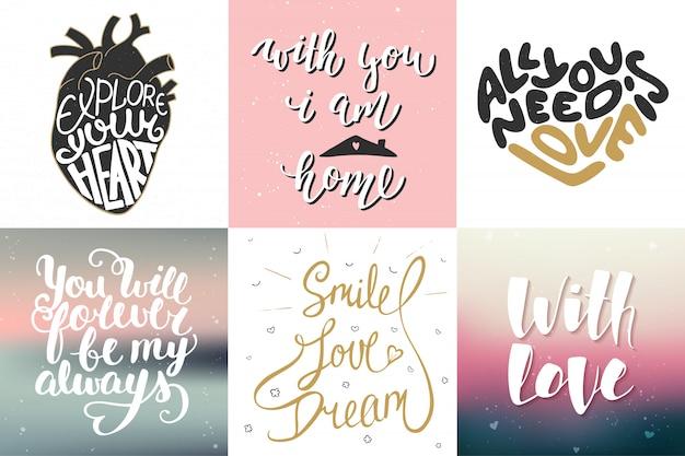 Conjunto de vectores de letras románticas carteles