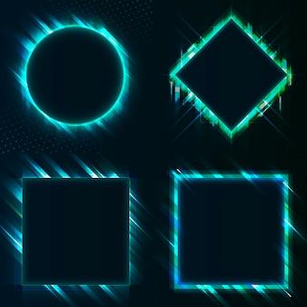 Conjunto de vectores de letrero azul en blanco