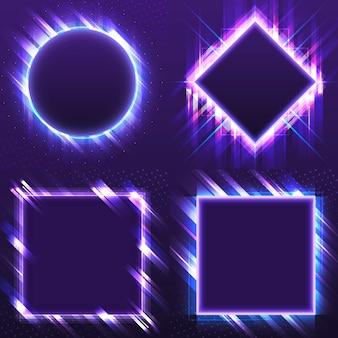 Conjunto de vectores letrero púrpura en blanco