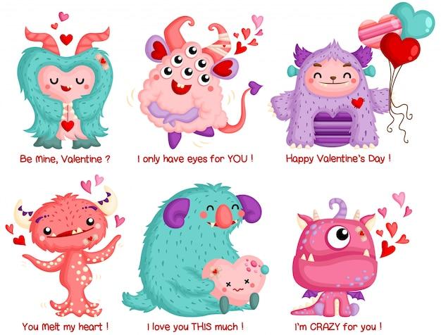 Un conjunto de vectores de lindo monstruo celebrando san valentín con amor