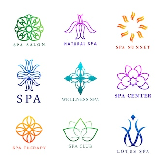 Conjunto de vectores de logotipo colorido spa