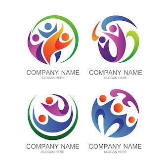 Conjunto de vectores de logotipo de salud de personas