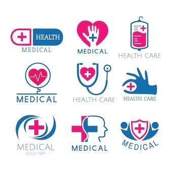 Conjunto de vectores de logotipos de servicio médico