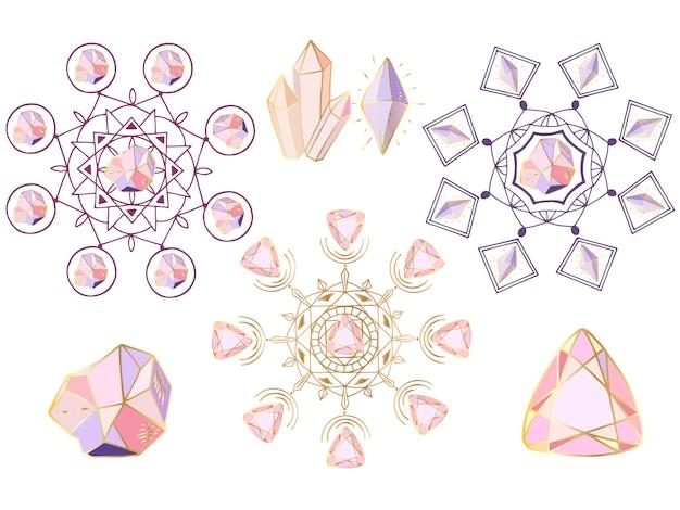 Conjunto de vectores de mandalas redondas, cristales y gemas.