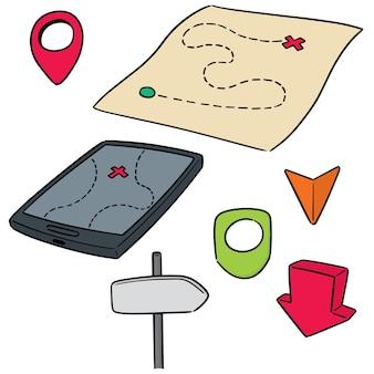 Conjunto de vectores de mapa y poste de dirección