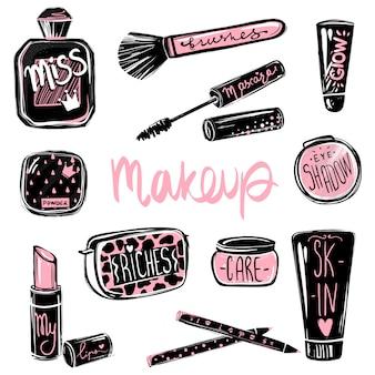 Conjunto de vectores de maquillaje. elementos cosméticos de belleza. hermosa ilustración de moda