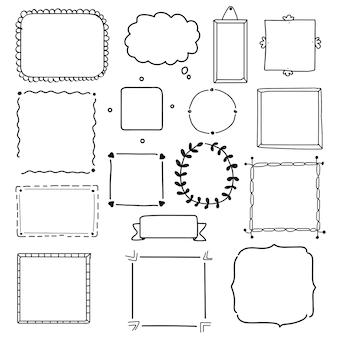 Conjunto de vectores de marco dibujado a mano