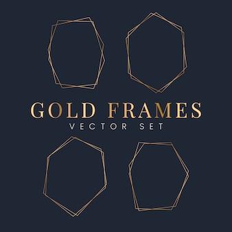 Conjunto de vectores de marco dorado.