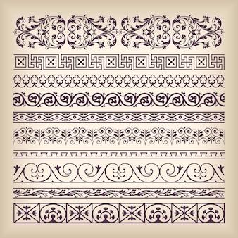 Conjunto de vectores marco frontera adornado vintage