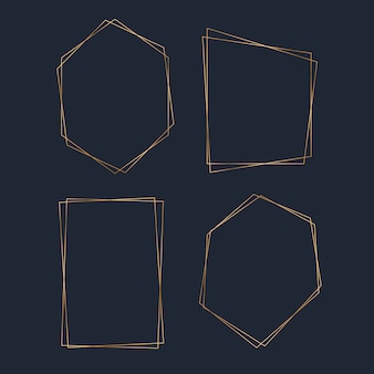Conjunto de vectores de marco de polígono de oro en blanco