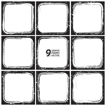 Conjunto de vectores de marcos de grunge